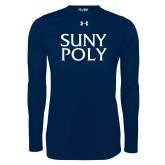 Under Armour Navy Long Sleeve Tech Tee-SYPy Poly Stacked