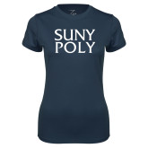 Ladies Syntrel Performance Navy Tee-SYPy Poly Stacked