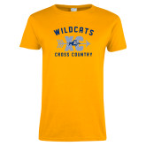 Ladies Gold T Shirt-Wildcats Cross Country