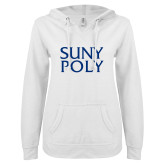 ENZA Ladies White V Notch Raw Edge Fleece Hoodie-SYPy Poly Stacked