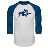 White/Royal Raglan Baseball T Shirt-Wildcat Logo