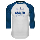 White/Royal Raglan Baseball T Shirt-Wildcats Ball