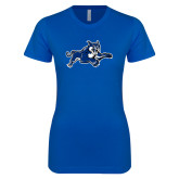Next Level Ladies SoftStyle Junior Fitted Royal Tee-Wildcat Logo
