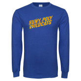 Royal Long Sleeve T Shirt-Suny Poly Wildcats Clawed