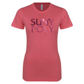 Next Level Ladies SoftStyle Junior Fitted Pink Tee-SYPy Poly Stacked Foil