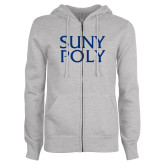ENZA Ladies Grey Fleece Full Zip Hoodie-SYPy Poly Stacked