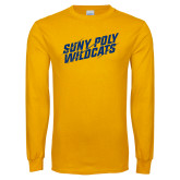 Gold Long Sleeve T Shirt-Suny Poly Wildcats Clawed