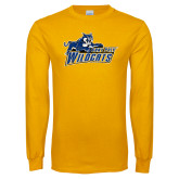 Gold Long Sleeve T Shirt-Primary Logo Distressed