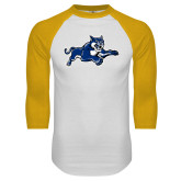 White/Gold Raglan Baseball T Shirt-Wildcat Logo