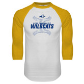 White/Gold Raglan Baseball T Shirt-Wildcats Ball
