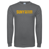 Charcoal Long Sleeve T Shirt-Block Stacked