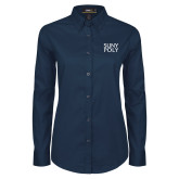 Ladies Navy Twill Button Down Long Sleeve-SYPy Poly Stacked