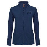 Ladies Fleece Full Zip Navy Jacket-SYPy Poly Stacked