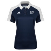 Ladies Adidas Modern Navy Varsity Polo-SYPy Poly Stacked
