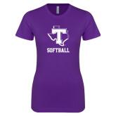 Next Level Ladies SoftStyle Junior Fitted Purple Tee-Softball