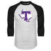 White/Black Raglan Baseball T Shirt-Primary