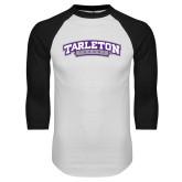 White/Black Raglan Baseball T Shirt-Tarleton Texas