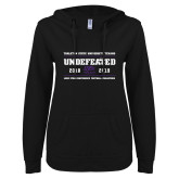 ENZA Ladies Black V Notch Raw Edge Fleece Hoodie-2019 Football Champions