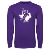 Purple Long Sleeve T Shirt-Texas Spirit Mark