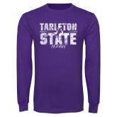 Purple Long Sleeve T Shirt-Block Letters