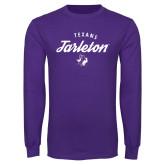 Purple Long Sleeve T Shirt-Script