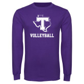 Purple Long Sleeve T Shirt-Volleyball