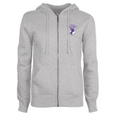 ENZA Ladies Grey Fleece Full Zip Hoodie-Full Spirit Mark