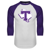 White/Purple Raglan Baseball T Shirt-Primary
