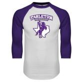 White/Purple Raglan Baseball T Shirt-Full Spirit Mark