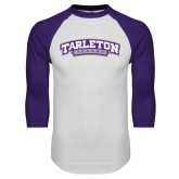 White/Purple Raglan Baseball T Shirt-Tarleton Texas