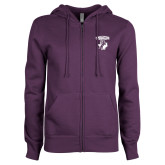 ENZA Ladies Purple Fleece Full Zip Hoodie-Full Spirit Mark