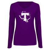 Ladies Purple Long Sleeve V Neck Tee-Primary