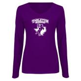 Ladies Purple Long Sleeve V Neck Tee-Full Spirit Mark
