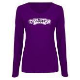 Ladies Purple Long Sleeve V Neck Tee-Tarleton Texas