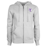 ENZA Ladies White Fleece Full Zip Hoodie-Primary
