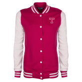 82d552a22437 Ladies Pink Raspberry White Fleece Letterman Jacket-3D T