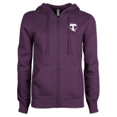 ENZA Ladies Purple Fleece Full Zip Hoodie-Primary