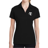 Ladies Black Dry Mesh Polo-Primary
