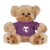 Plush Big Paw 8 1/2 inch Brown Bear w/Purple Shirt-Primary