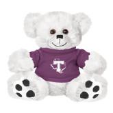 Plush Big Paw 8 1/2 inch White Bear w/Purple Shirt-Primary