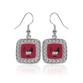 Crystal Studded Square Pendant Silver Dangle Earrings-IUP Hawk Wings
