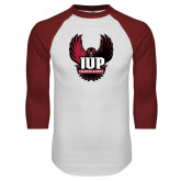 White/Cardinal Raglan Baseball T Shirt-IUP Hawk Wings