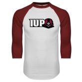 White/Cardinal Raglan Baseball T Shirt-IUP Hawk Head