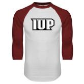 White/Cardinal Raglan Baseball T Shirt-IUP Monogram