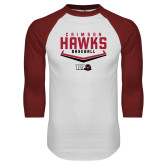 White/Cardinal Raglan Baseball T Shirt-Baseball Plate