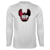 Performance White Longsleeve Shirt-IUP Hawk Wings