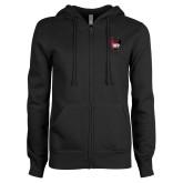 ENZA Ladies Black Fleece Full Zip Hoodie-IUP Hawk Wings
