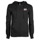 ENZA Ladies Black Fleece Full Zip Hoodie-IUP Hawks Banner