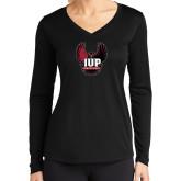 Ladies Syntrel Performance Black Longsleeve Shirt-IUP Hawk Wings