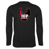 Performance Black Longsleeve Shirt-IUP Hawk Wings